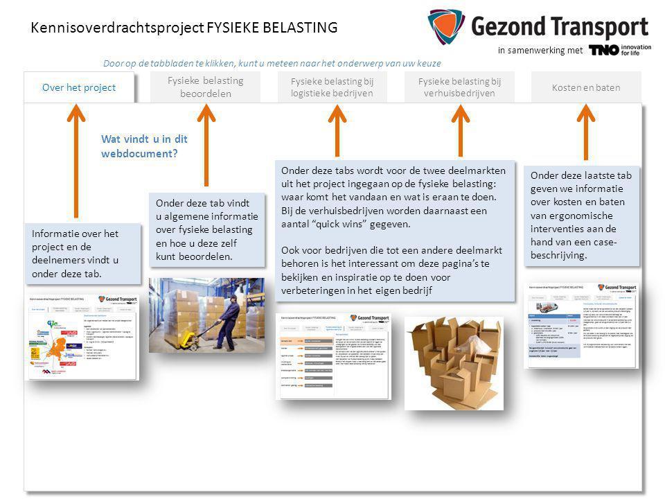 in samenwerking met Fysieke belasting beoordelen Fysieke belasting bij logistieke bedrijven Fysieke belasting bij verhuisbedrijven Kosten en baten Ove