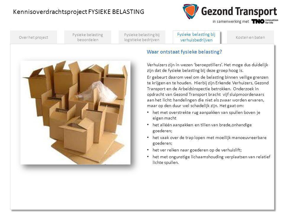 in samenwerking met Fysieke belasting bij verhuisbedrijven Kennisoverdrachtsproject FYSIEKE BELASTING Fysieke belasting bij logistieke bedrijven Fysie
