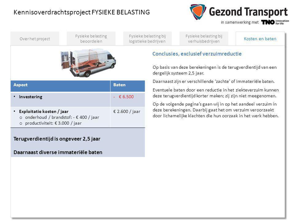 in samenwerking met Kosten en baten Kennisoverdrachtsproject FYSIEKE BELASTING Fysieke belasting bij verhuisbedrijven Fysieke belasting bij logistieke