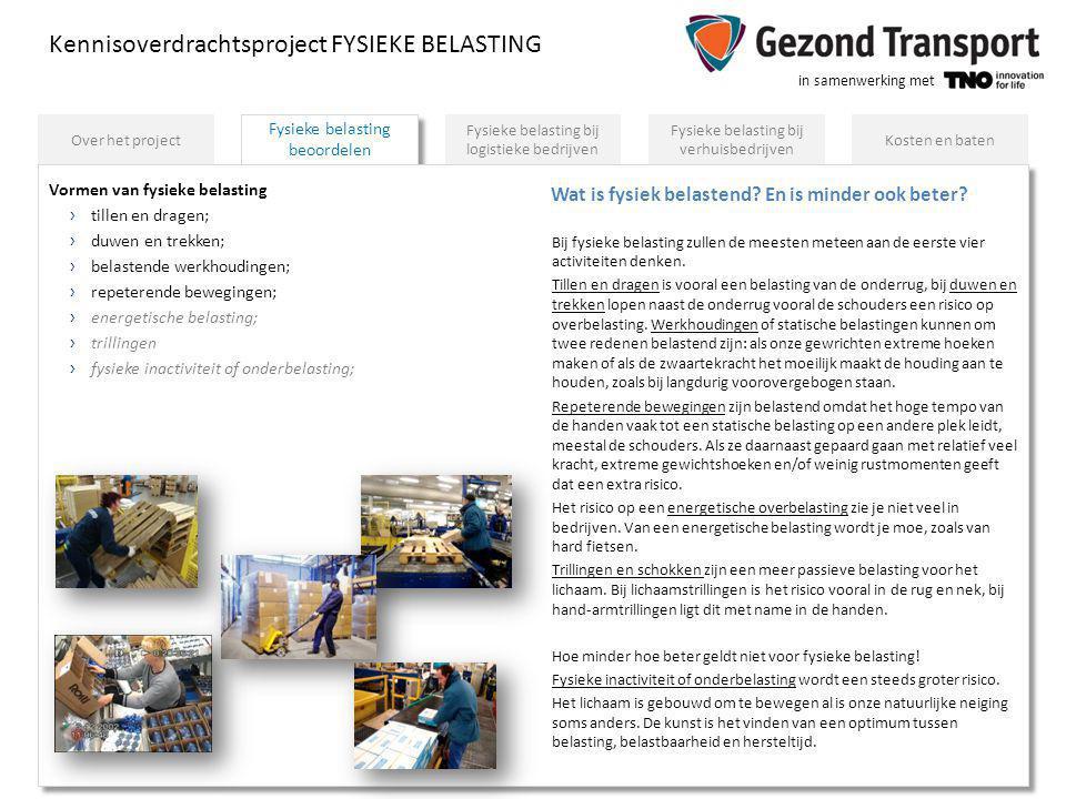 in samenwerking met Fysieke belasting beoordelen Kennisoverdrachtsproject FYSIEKE BELASTING Fysieke belasting bij logistieke bedrijven Fysieke belasti