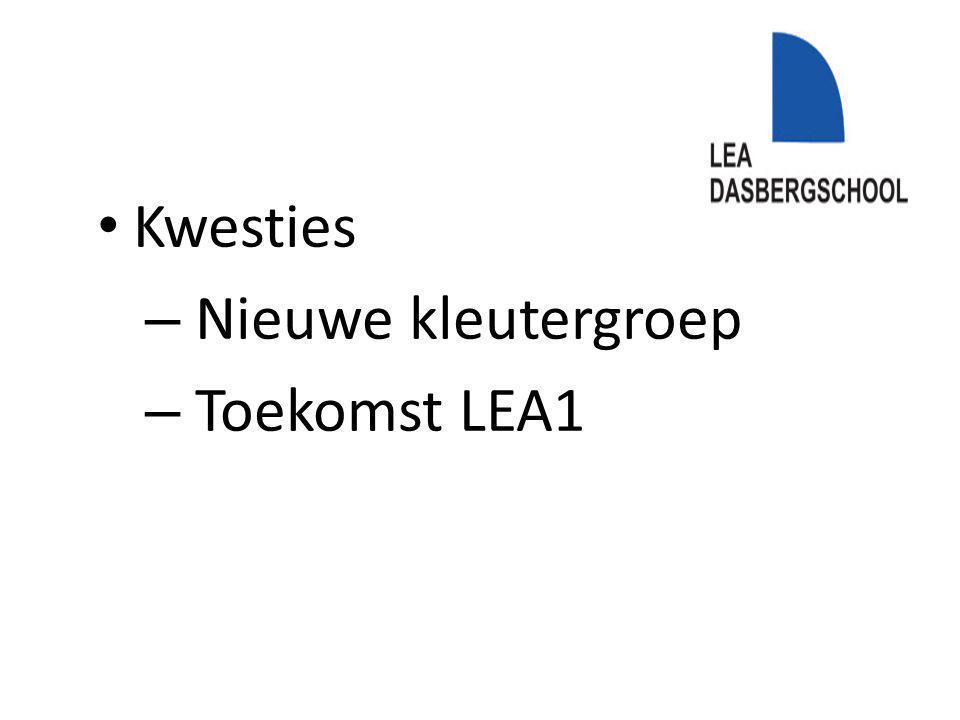 Kwesties – Nieuwe kleutergroep – Toekomst LEA1