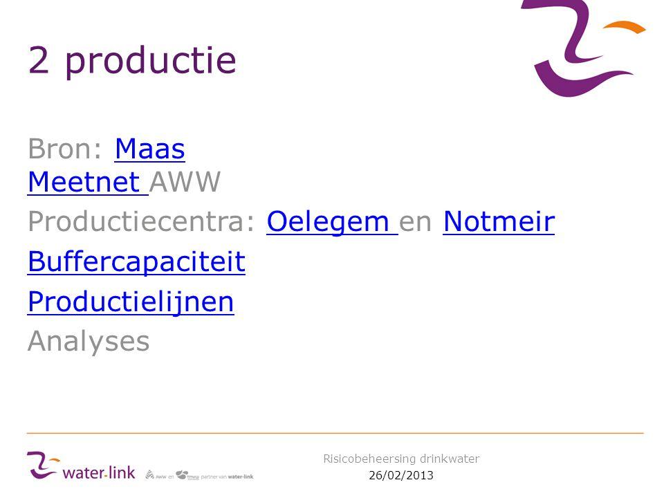 2 productie Bron: Maas Meetnet AWWMaas Meetnet Productiecentra: Oelegem en NotmeirOelegem Notmeir Buffercapaciteit Productielijnen Analyses 26/02/2013 Risicobeheersing drinkwater