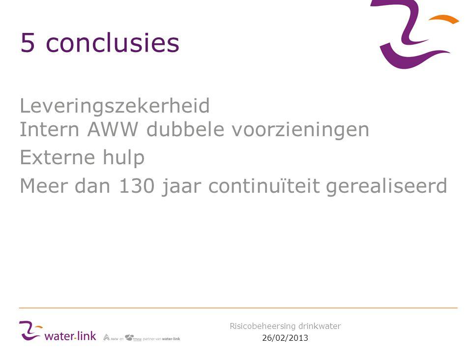 5 conclusies Leveringszekerheid Intern AWW dubbele voorzieningen Externe hulp Meer dan 130 jaar continuïteit gerealiseerd 26/02/2013 Risicobeheersing drinkwater