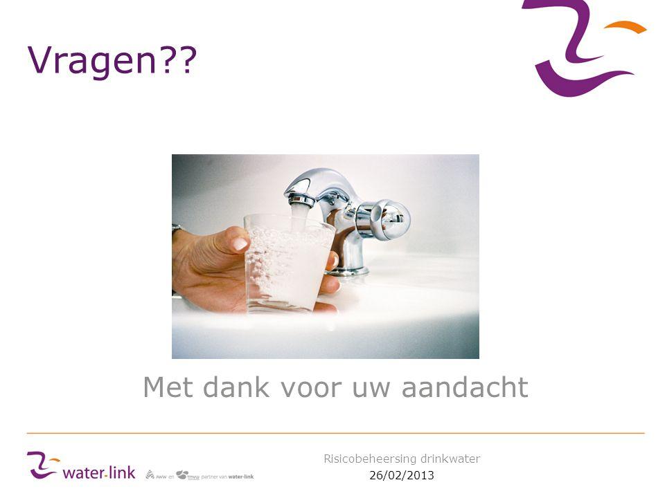 Vragen?? Met dank voor uw aandacht 26/02/2013 Risicobeheersing drinkwater