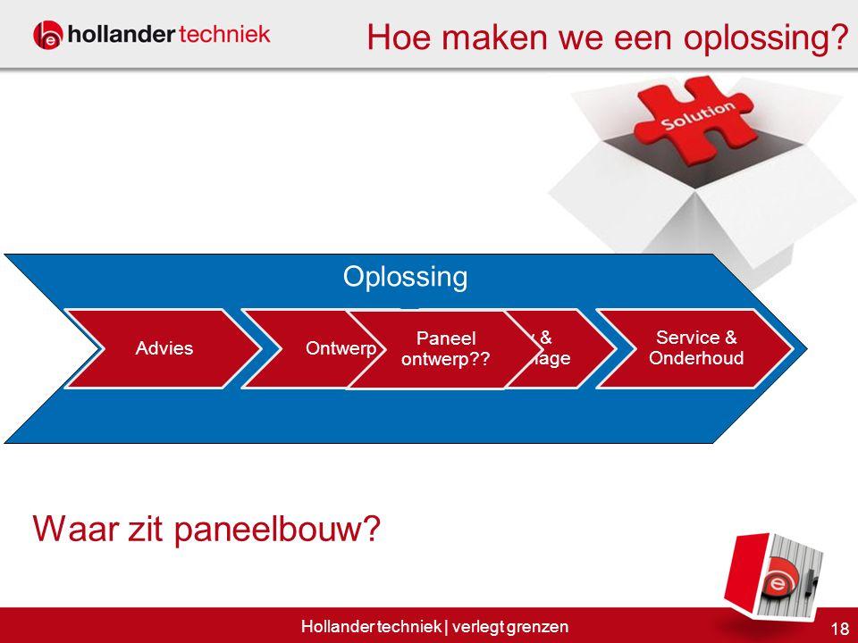 Oplossing AdviesOntwerp 18 Hollander techniek | verlegt grenzen Bouw & assemblage Hoe maken we een oplossing? Waar zit paneelbouw? Paneel ontwerp?? Se