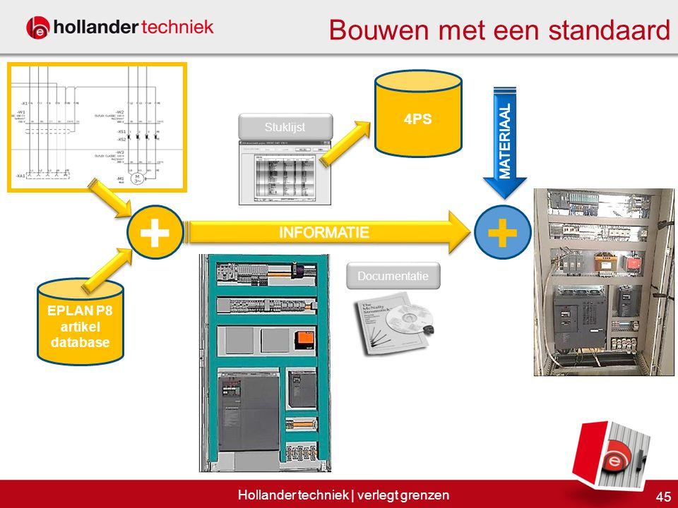 Bouwen met een standaard 45 Hollander techniek | verlegt grenzen EPLAN P8 artikel database + Stuklijst 4PS Documentatie +