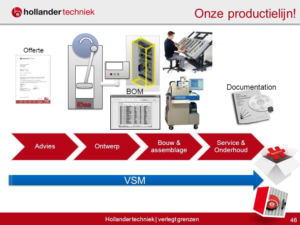 Documentation BOM 46 Hollander techniek | verlegt grenzen Onze productielijn! VSM AdviesOntwerp Bouw & assemblage Service & Onderhoud Offerte