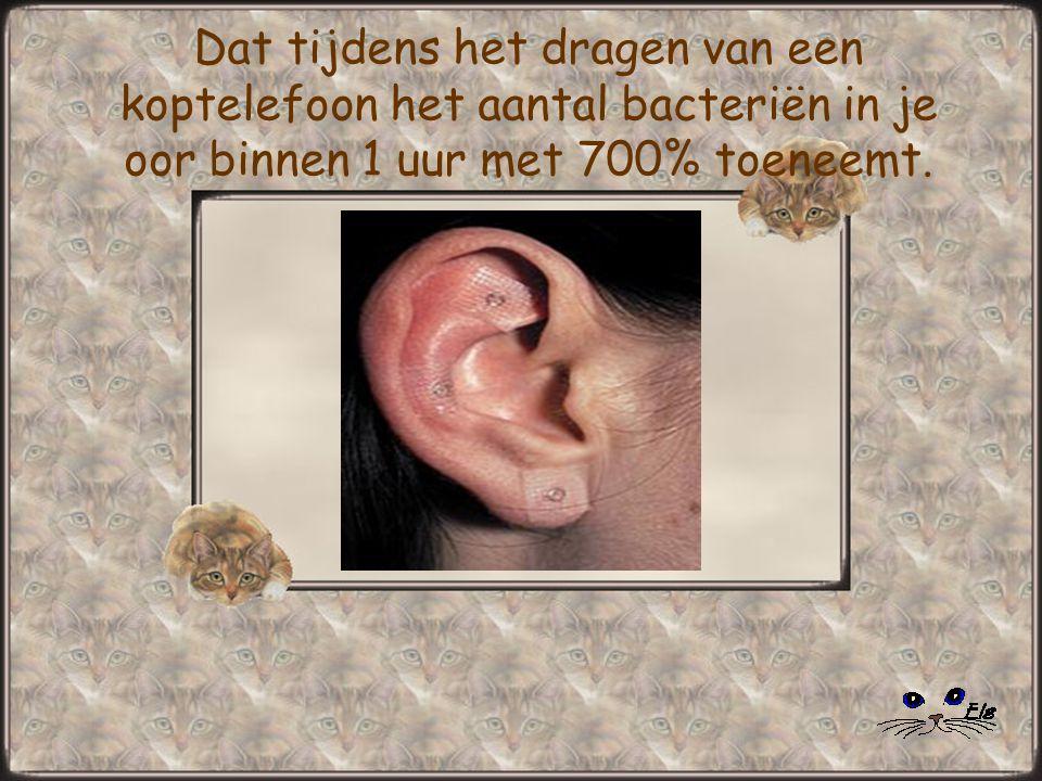 Dat tijdens het dragen van een koptelefoon het aantal bacteriën in je oor binnen 1 uur met 700% toeneemt.
