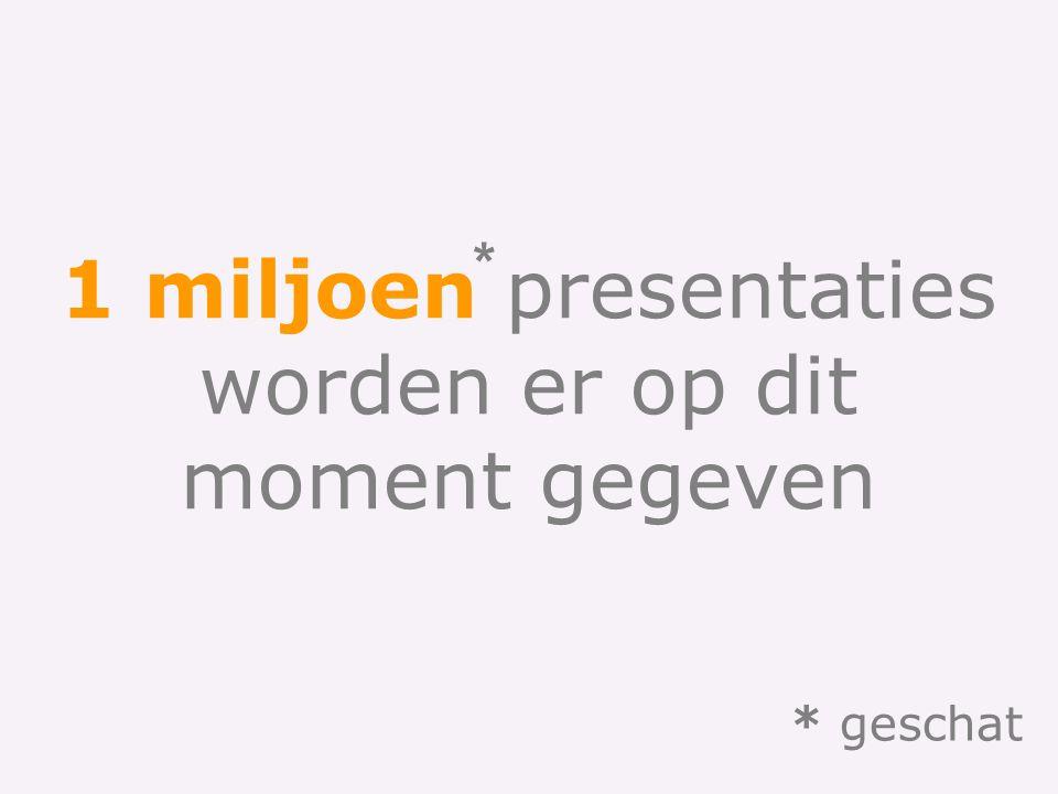 1 miljoen presentaties worden er op dit moment gegeven * * geschat