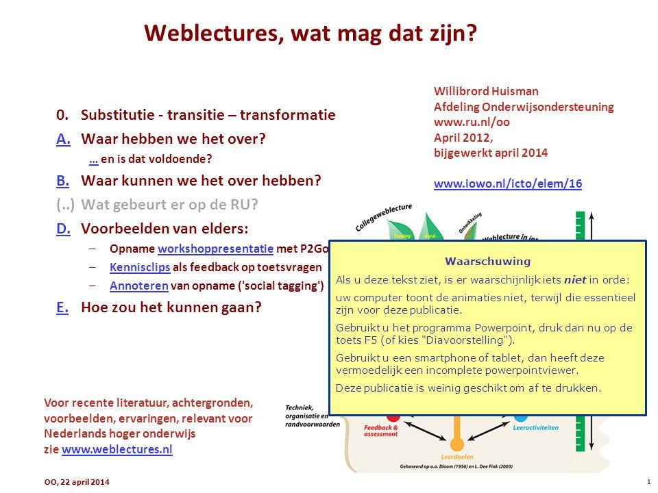 collegezaal Weblectures, 0: probleemschets Introductie weblectures, 20122 doenzien Problemen: - collegezalen zijn te klein - sommige studenten kunnen niet komen - veel studenten willen het opnieuw bestuderen - (elk jaar wordt ongeveer hetzelfde herhaald) .