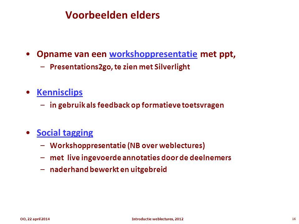 Voorbeelden elders Opname van een workshoppresentatie met ppt,workshoppresentatie –Presentations2go, te zien met Silverlight Kennisclips –in gebruik a