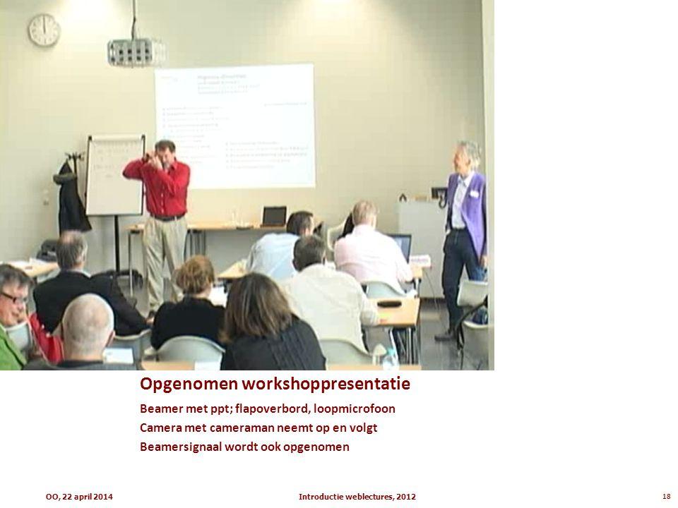 Opgenomen workshoppresentatie Beamer met ppt; flapoverbord, loopmicrofoon Camera met cameraman neemt op en volgt Beamersignaal wordt ook opgenomen Int