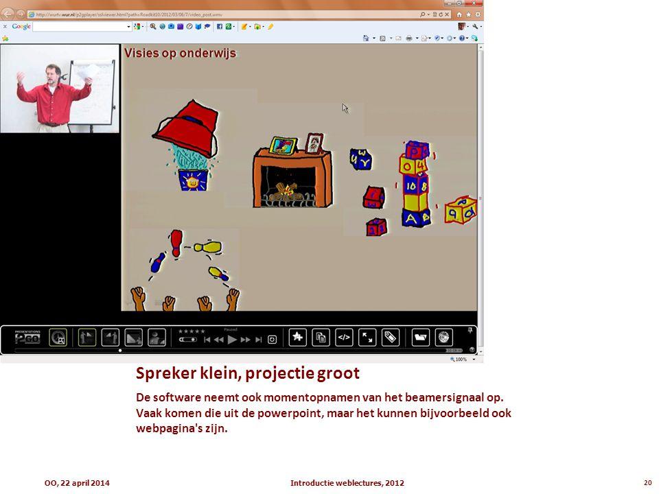 Spreker klein, projectie groot De software neemt ook momentopnamen van het beamersignaal op. Vaak komen die uit de powerpoint, maar het kunnen bijvoor
