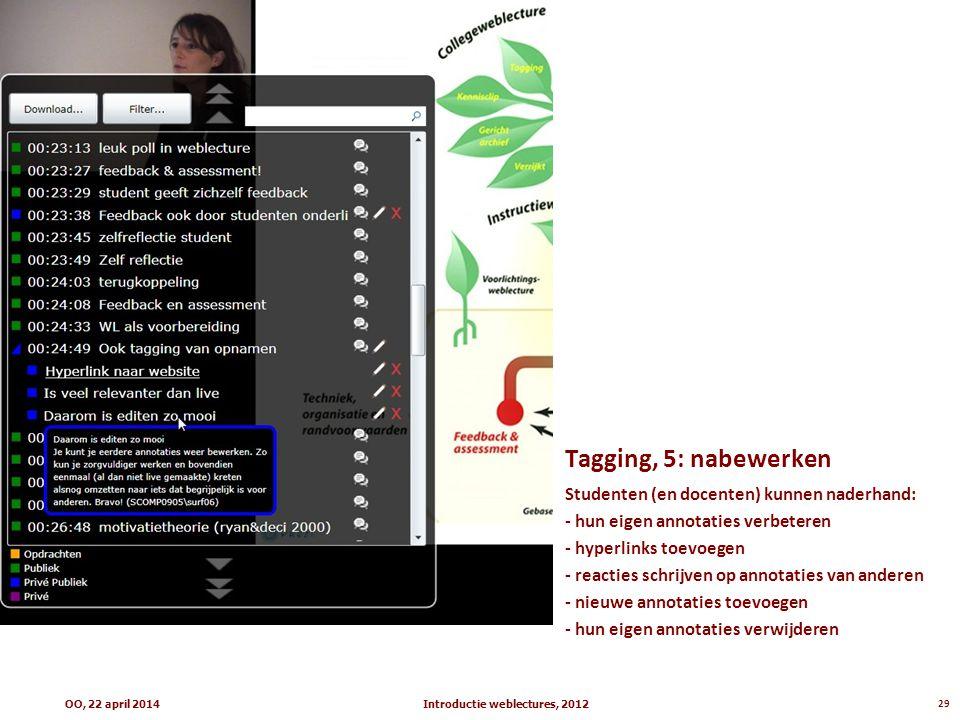 Tagging, 5: nabewerken Studenten (en docenten) kunnen naderhand: - hun eigen annotaties verbeteren - hyperlinks toevoegen - reacties schrijven op annotaties van anderen - nieuwe annotaties toevoegen - hun eigen annotaties verwijderen Introductie weblectures, 201229OO, 22 april 2014