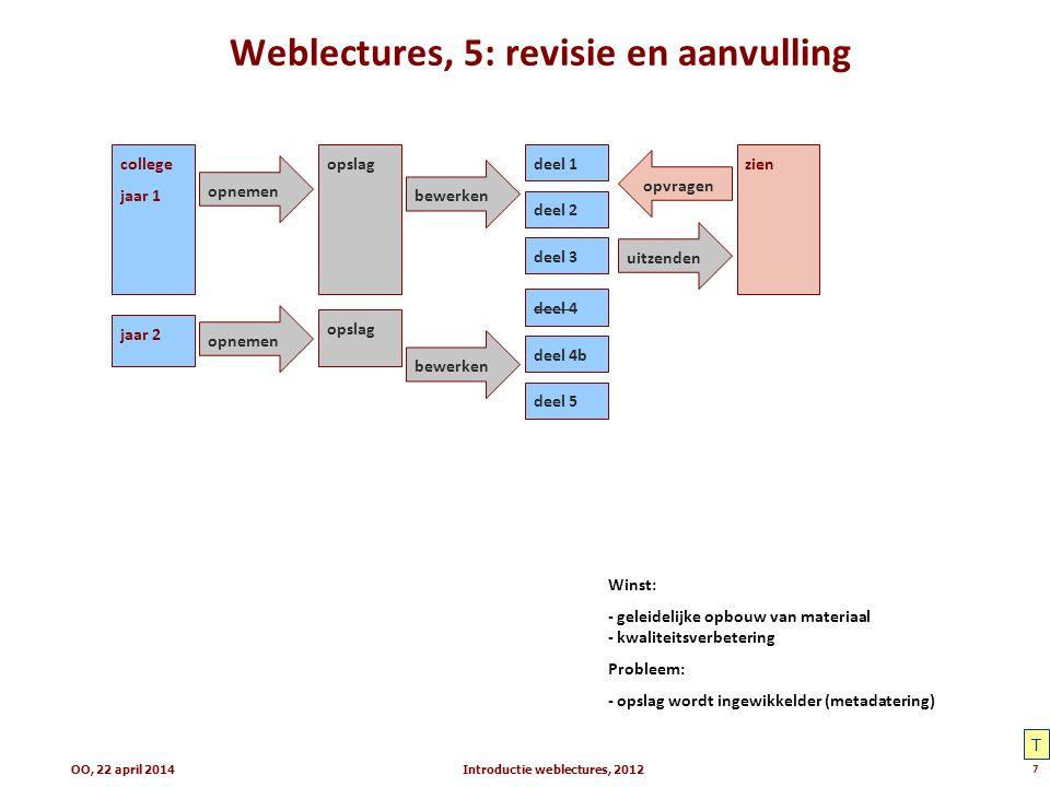 Weblectures, 5: revisie en aanvulling Introductie weblectures, 20127 college jaar 1 zienopslag opnemen uitzenden opvragen bewerken deel 1 deel 2 deel