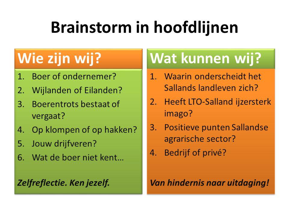 Brainstorm in hoofdlijnen Wie zijn wij? 1.Boer of ondernemer? 2.Wijlanden of Eilanden? 3.Boerentrots bestaat of vergaat? 4.Op klompen of op hakken? 5.