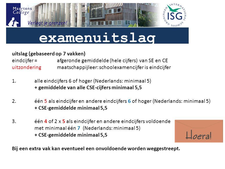 examenuitslag uitslag (gebaseerd op 7 vakken) eindcijfer=afgeronde gemiddelde (hele cijfers) van SE en CE uitzonderingmaatschappijleer: schoolexamencijfer is eindcijfer 1.