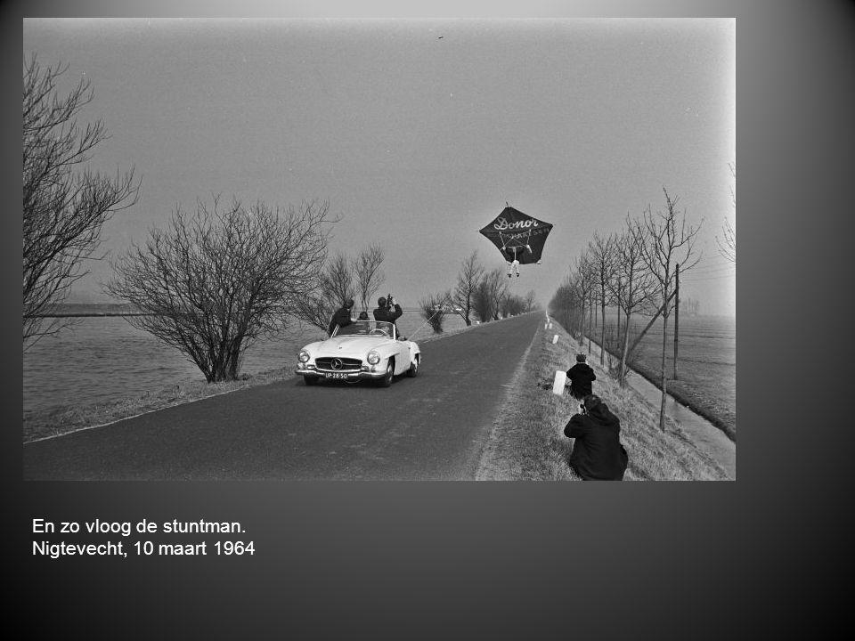 En zo vloog de stuntman. Nigtevecht, 10 maart 1964