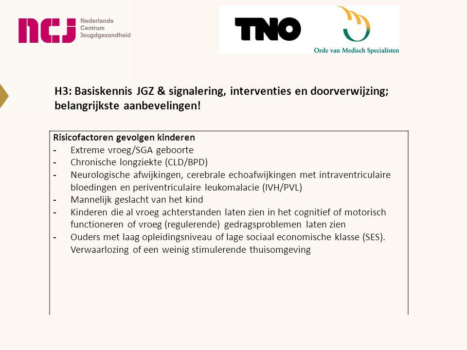H3: Basiskennis JGZ & signalering, interventies en doorverwijzing; belangrijkste aanbevelingen.