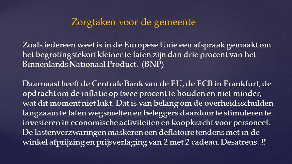 Zorgtaken voor de gemeente Zoals iedereen weet is in de Europese Unie een afspraak gemaakt om het begrotingstekort kleiner te laten zijn dan drie procent van het Binnenlands Nationaal Product.
