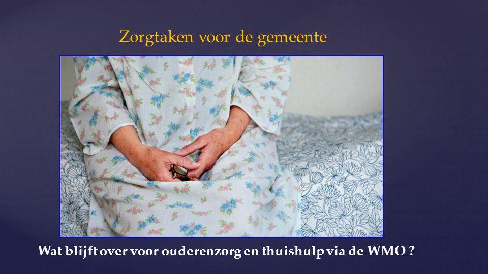 Zorgtaken voor de gemeente Wat blijft over voor ouderenzorg en thuishulp via de WMO