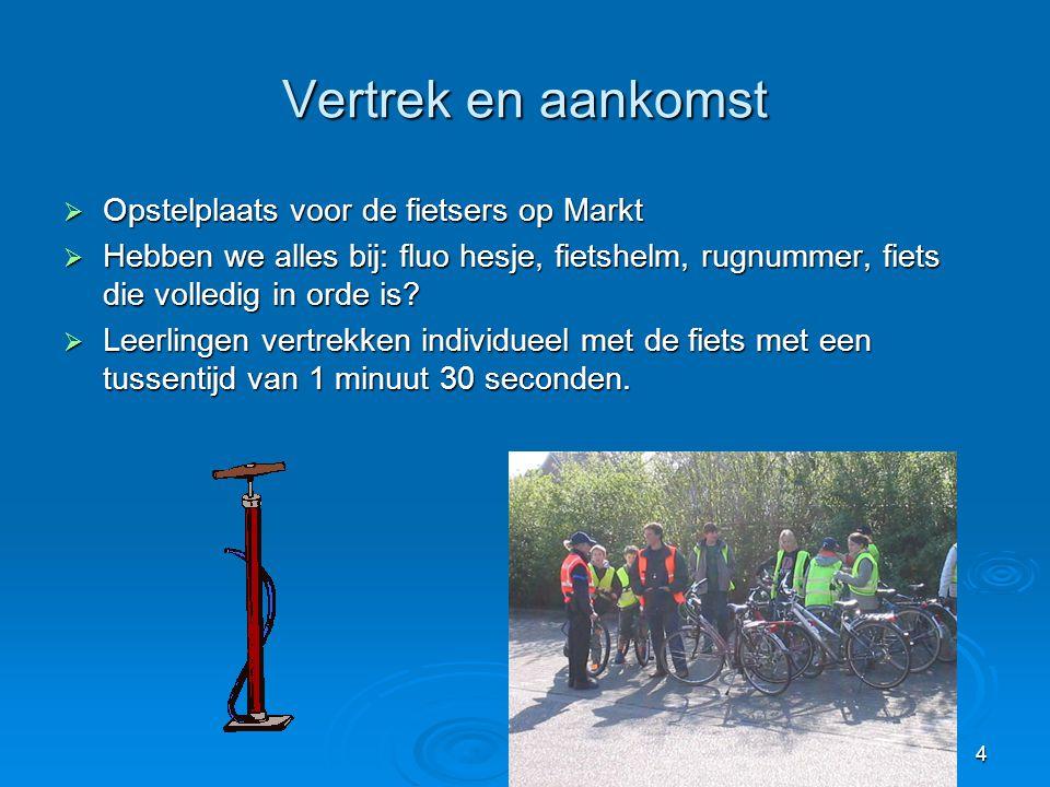4 Vertrek en aankomst  Opstelplaats voor de fietsers op Markt  Hebben we alles bij: fluo hesje, fietshelm, rugnummer, fiets die volledig in orde is?