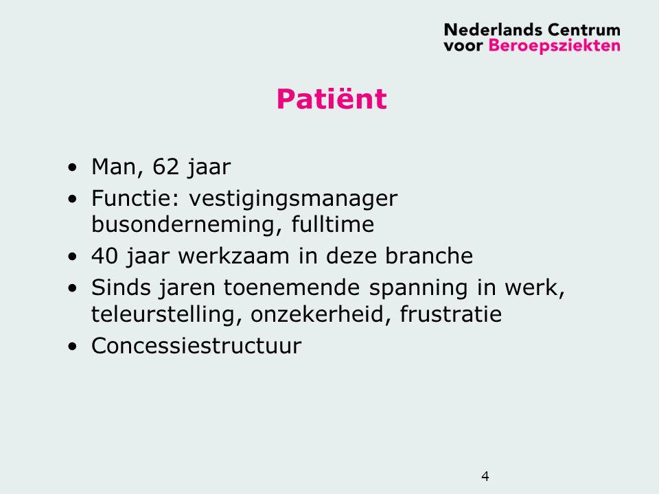 Patiënt Man, 62 jaar Functie: vestigingsmanager busonderneming, fulltime 40 jaar werkzaam in deze branche Sinds jaren toenemende spanning in werk, tel