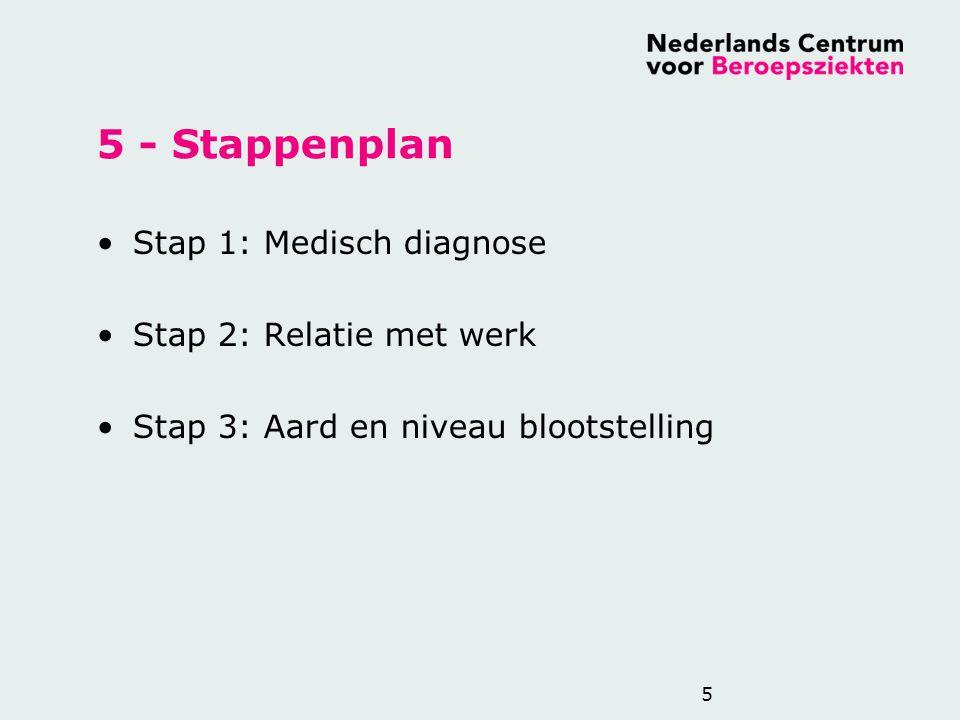 5 - Stappenplan Stap 1: Medisch diagnose Stap 2: Relatie met werk Stap 3: Aard en niveau blootstelling 5