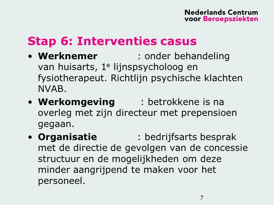Stap 6: Interventies casus Werknemer: onder behandeling van huisarts, 1 e lijnspsycholoog en fysiotherapeut. Richtlijn psychische klachten NVAB. Werko