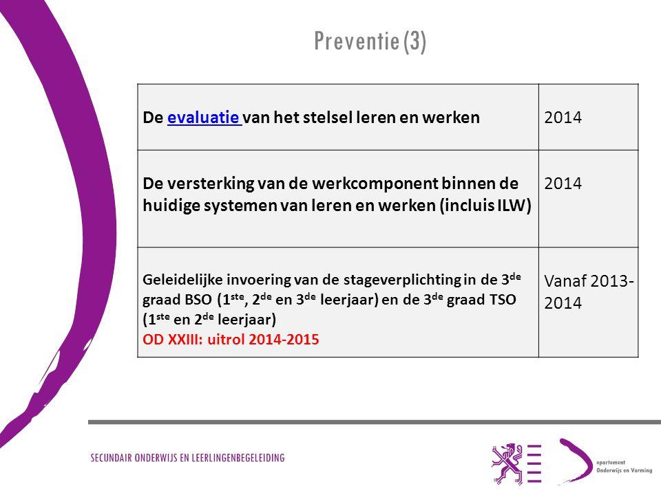 Preventie (3) De evaluatie van het stelsel leren en werkenevaluatie 2014 De versterking van de werkcomponent binnen de huidige systemen van leren en w