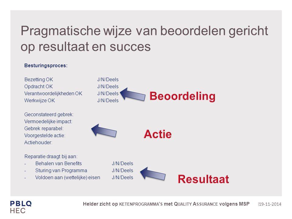 | Pragmatische wijze van beoordelen gericht op resultaat en succes Besturingsproces: Bezetting OKJ/N/Deels Opdracht OK J/N/Deels Verantwoordelijkheden OKJ/N/Deels Werkwijze OKJ/N/Deels Geconstateerd gebrek: Vermoedelijke impact: Gebrek reparabel: Voorgestelde actie: Actiehouder: Reparatie draagt bij aan: Behalen van BenefitsJ/N/Deels Sturing van ProgrammaJ/N/Deels Voldoen aan (wettelijke) eisenJ/N/Deels 19-11-2014 Helder zicht op KETENPROGRAMMA ' S met Q UALITY A SSURANCE volgens MSP