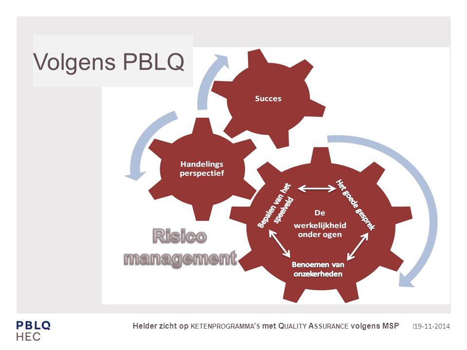 | Volgens PBLQ 19-11-2014 Helder zicht op KETENPROGRAMMA ' S met Q UALITY A SSURANCE volgens MSP