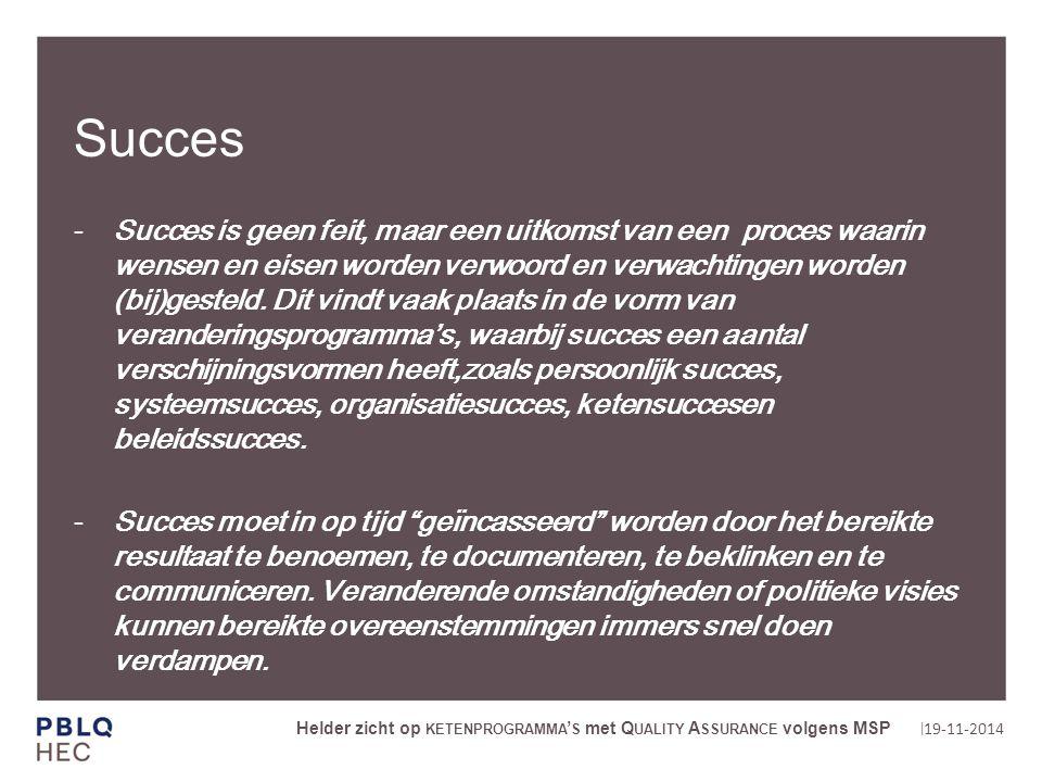 | Succes Succes is geen feit, maar een uitkomst van een proces waarin wensen en eisen worden verwoord en verwachtingen worden (bij)gesteld.