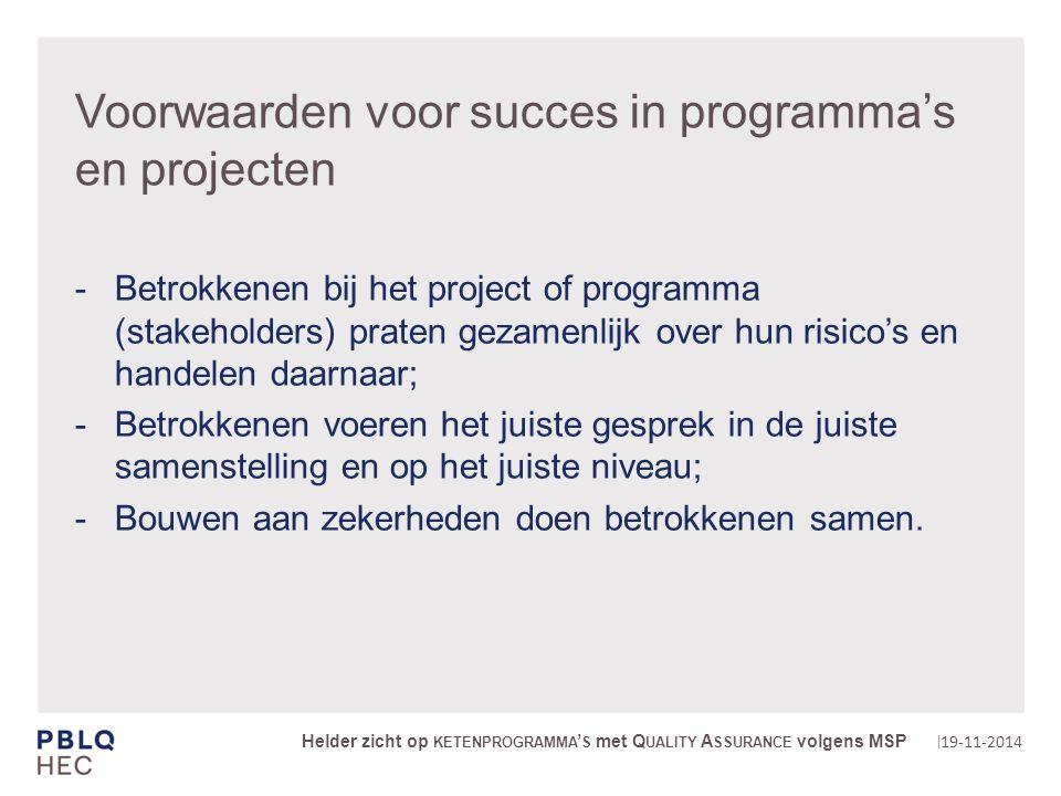 | Tot slot risico management en succes 19-11-2014 Helder zicht op KETENPROGRAMMA ' S met Q UALITY A SSURANCE volgens MSP