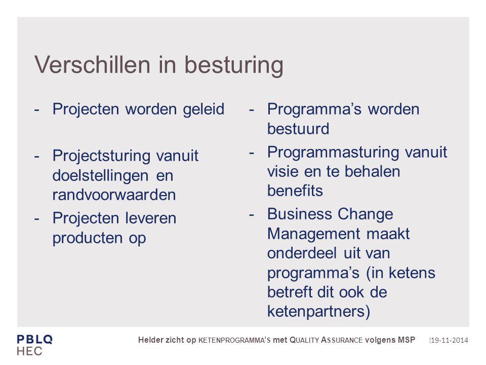| Verschillen in besturing Programma's worden bestuurd Programmasturing vanuit visie en te behalen benefits Business Change Management maakt onderdeel uit van programma's (in ketens betreft dit ook de ketenpartners) 19-11-2014 Helder zicht op KETENPROGRAMMA ' S met Q UALITY A SSURANCE volgens MSP Projecten worden geleid Projectsturing vanuit doelstellingen en randvoorwaarden Projecten leveren producten op