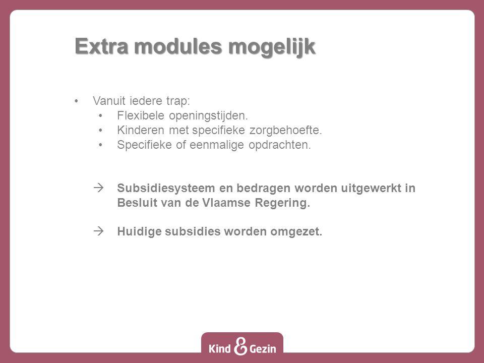 Extra modules mogelijk Vanuit iedere trap: Flexibele openingstijden.