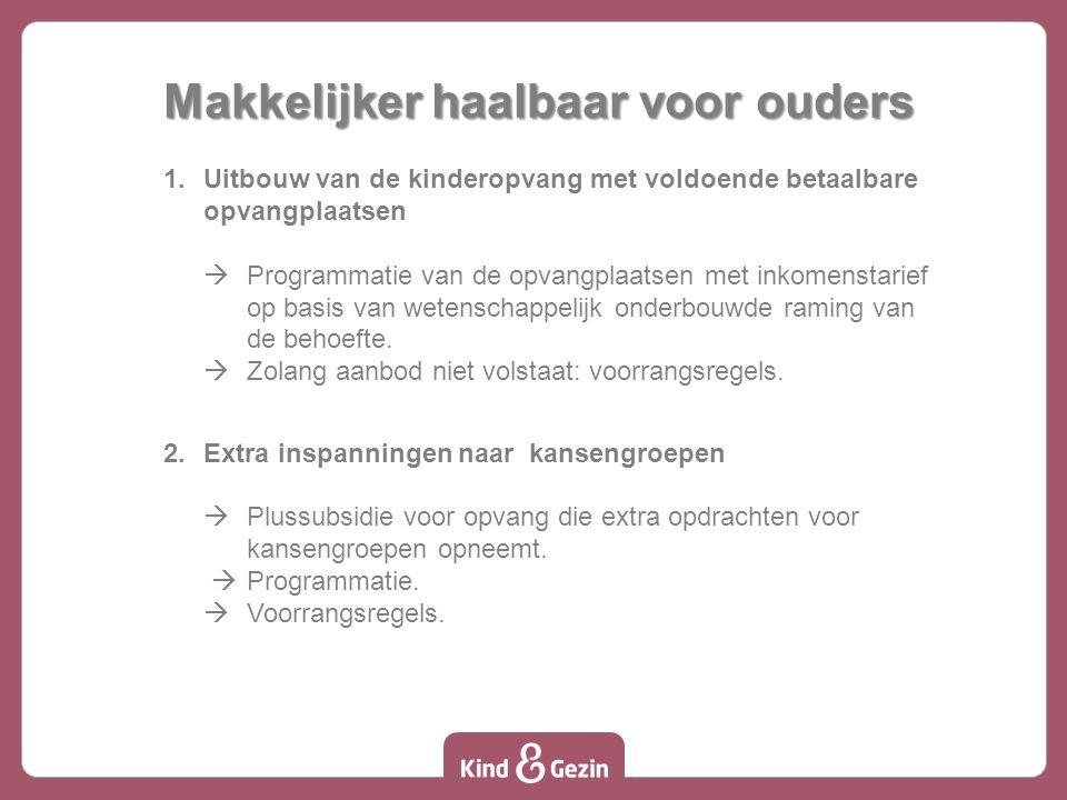 Makkelijker haalbaar voor ouders 1.Uitbouw van de kinderopvang met voldoende betaalbare opvangplaatsen  Programmatie van de opvangplaatsen met inkomenstarief op basis van wetenschappelijk onderbouwde raming van de behoefte.