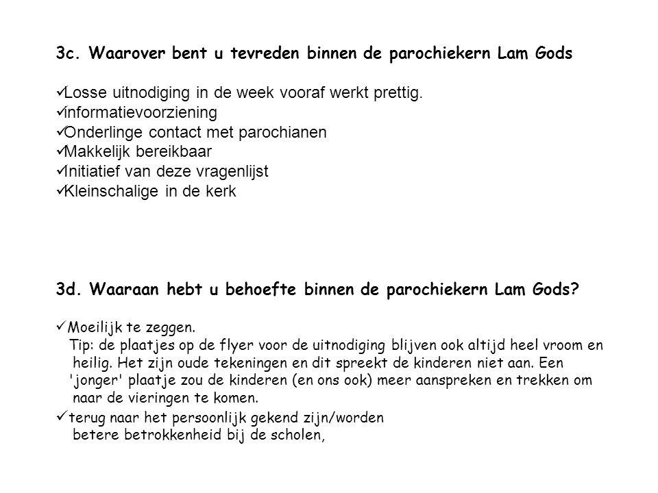 3c. Waarover bent u tevreden binnen de parochiekern Lam Gods Losse uitnodiging in de week vooraf werkt prettig. informatievoorziening Onderlinge conta