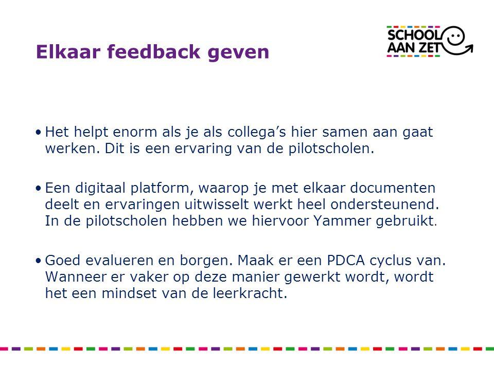Elkaar feedback geven Het helpt enorm als je als collega's hier samen aan gaat werken.