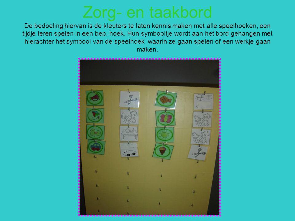 Zorg- en taakbord De bedoeling hiervan is de kleuters te laten kennis maken met alle speelhoeken, een tijdje leren spelen in een bep. hoek. Hun symboo