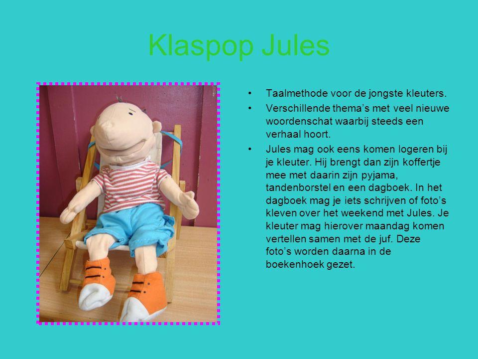 Klaspop Jules Taalmethode voor de jongste kleuters. Verschillende thema's met veel nieuwe woordenschat waarbij steeds een verhaal hoort. Jules mag ook