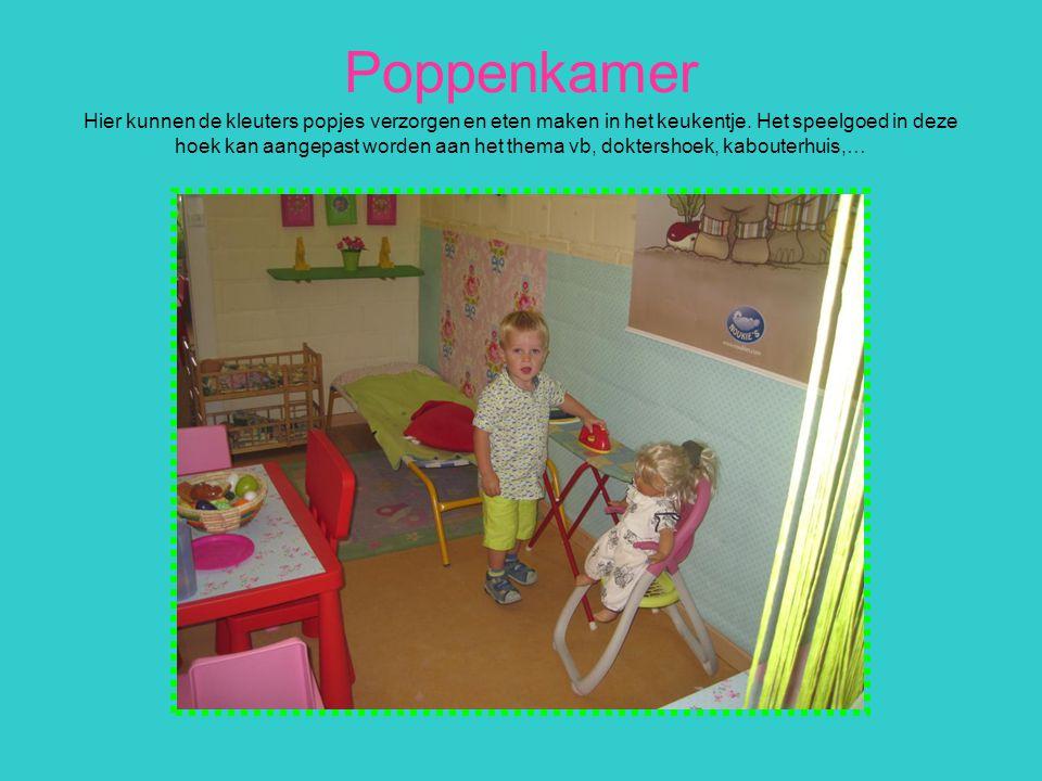 Poppenkamer Hier kunnen de kleuters popjes verzorgen en eten maken in het keukentje. Het speelgoed in deze hoek kan aangepast worden aan het thema vb,
