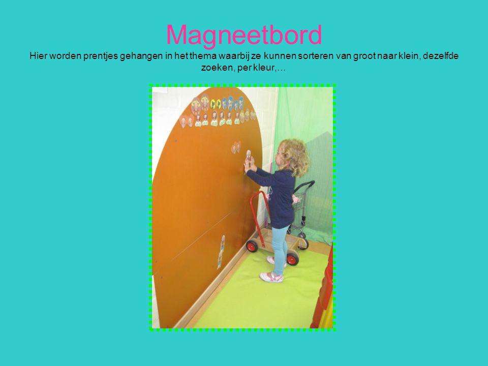 Magneetbord Hier worden prentjes gehangen in het thema waarbij ze kunnen sorteren van groot naar klein, dezelfde zoeken, per kleur,…