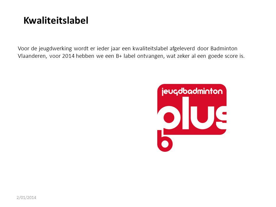 2/01/2014 Kwaliteitslabel Voor de jeugdwerking wordt er ieder jaar een kwaliteitslabel afgeleverd door Badminton Vlaanderen, voor 2014 hebben we een B