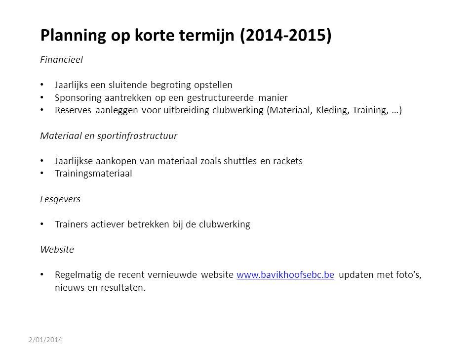 2/01/2014 Planning op korte termijn (2014-2015) Financieel Jaarlijks een sluitende begroting opstellen Sponsoring aantrekken op een gestructureerde ma