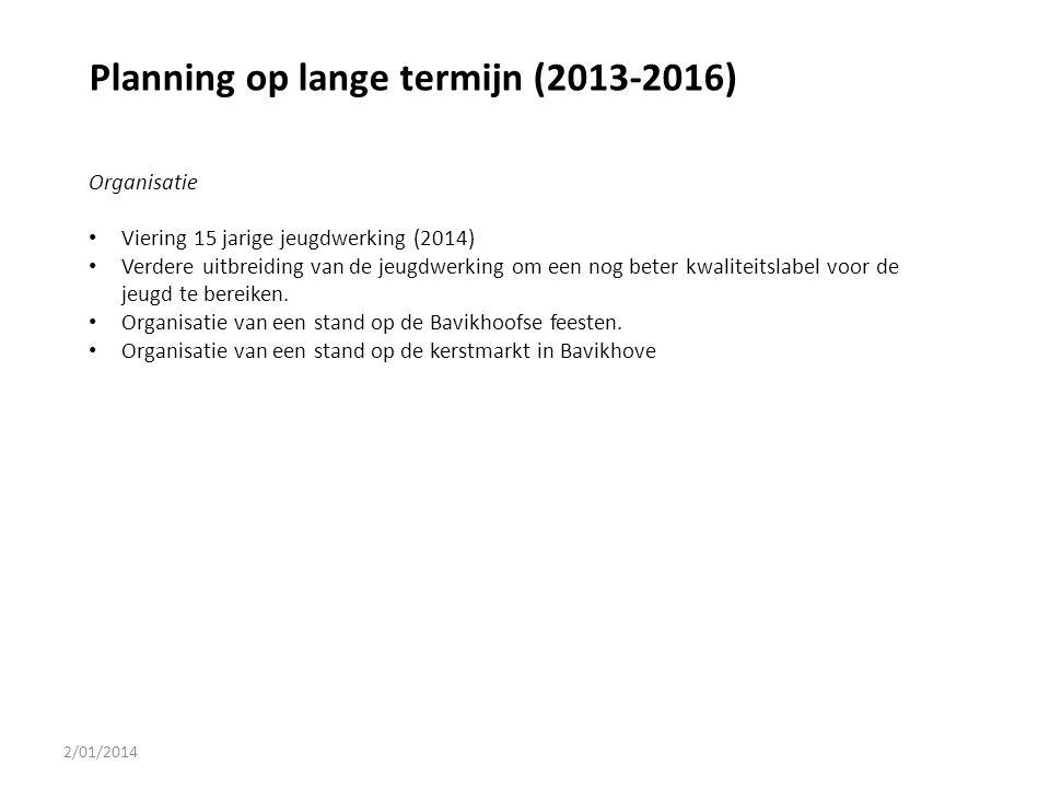 2/01/2014 Planning op lange termijn (2013-2016) Organisatie Viering 15 jarige jeugdwerking (2014) Verdere uitbreiding van de jeugdwerking om een nog b