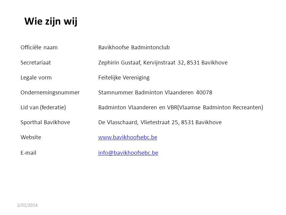 Officiële naamBavikhoofse Badmintonclub SecretariaatZephirin Gustaaf, Kervijnstraat 32, 8531 Bavikhove Legale vormFeitelijke Vereniging Ondernemingsnu