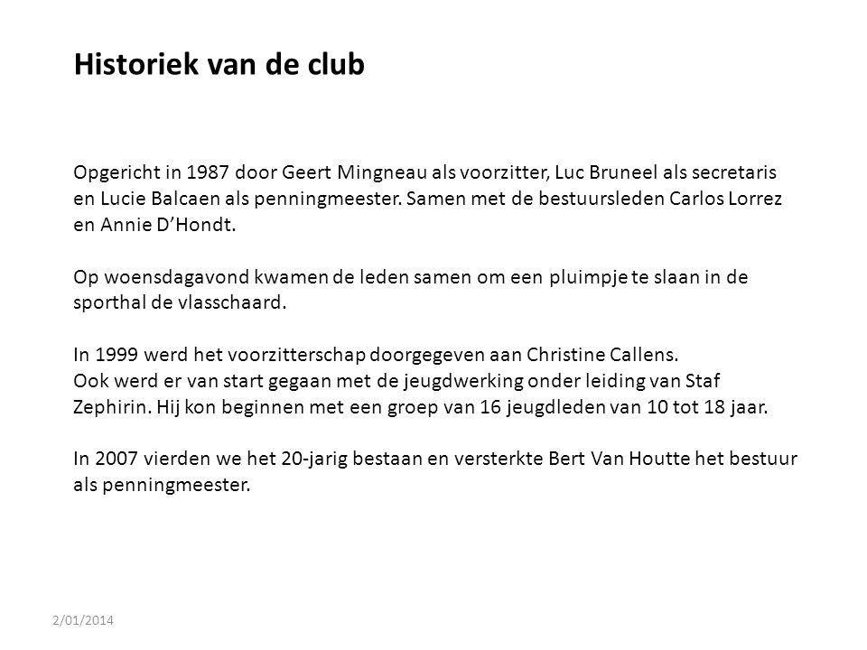 2/01/2014 Historiek van de club Opgericht in 1987 door Geert Mingneau als voorzitter, Luc Bruneel als secretaris en Lucie Balcaen als penningmeester.