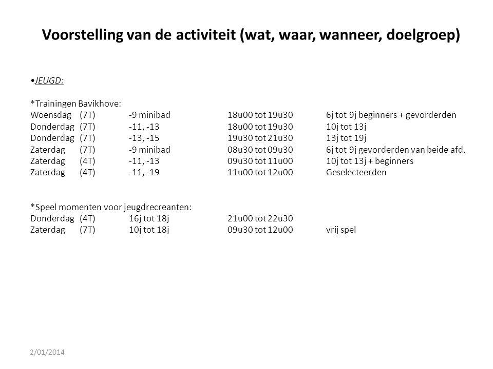 2/01/2014 Voorstelling van de activiteit (wat, waar, wanneer, doelgroep) JEUGD: *Trainingen Bavikhove: Woensdag(7T)-9 minibad18u00 tot 19u306j tot 9j
