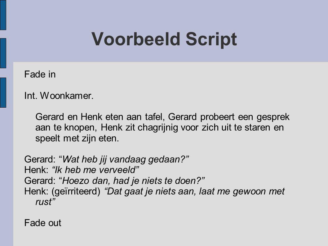 Voorbeeld Script Fade in Int. Woonkamer. Gerard en Henk eten aan tafel, Gerard probeert een gesprek aan te knopen, Henk zit chagrijnig voor zich uit t